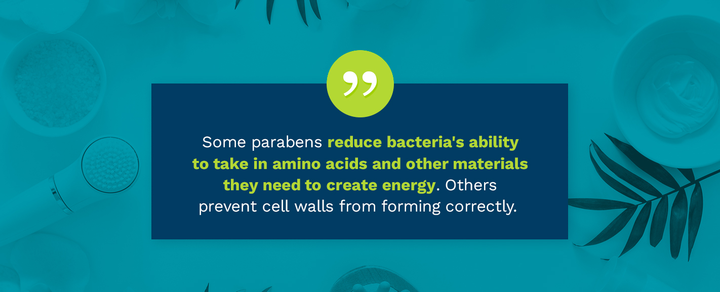 Some parabens reduce bacteria's ability to take in amino acid.